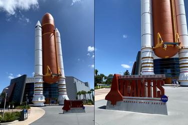 Nosné rakety a obří zásobník paliva pro raketoplány, oproti kterým se cítíte býti trpaslíkem
