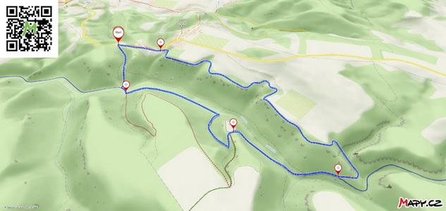 Mapa naší okružní cesty kolem hradu Helfenburk z Mapy.cz