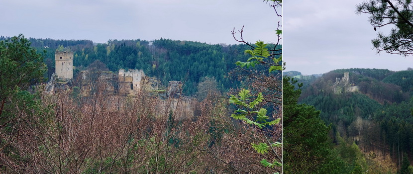 Helfenburk prosvítal mezi stromy i mimo oficiální vyhlídku