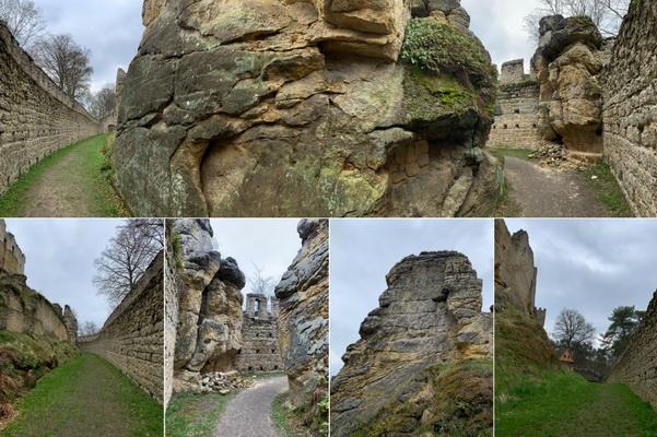 Procházka kolem obvodových hradeb nám odhalila i majestátní skálu ve tvaru hlavy bojovníka