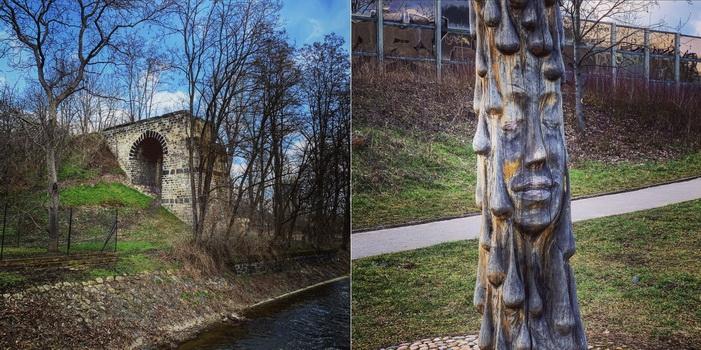 Torzo železničního mostu nad Rokytkou a opodál socha samotné víly Rokytky