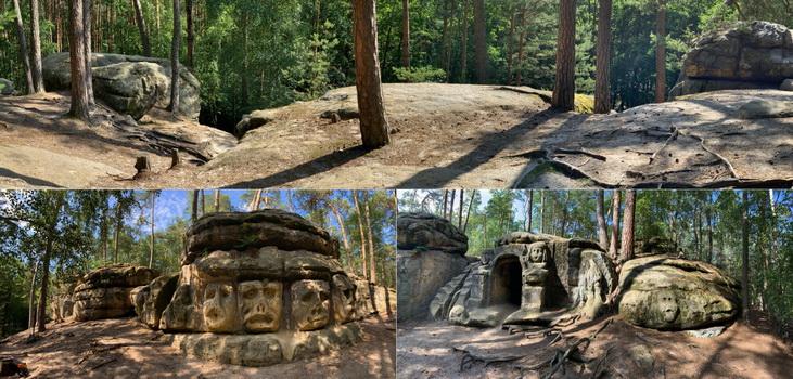 Opět skalní reliéfy a jeskyně Harfenice, kterou bylo takřka nemožné vyfotit bez dočasných nájemníků...