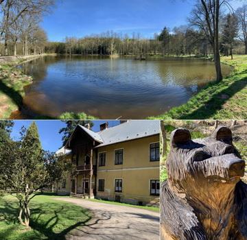 Oborský rybník a bývalý lovecký zámeček, který je hlídán krásným dřevěným méďou.