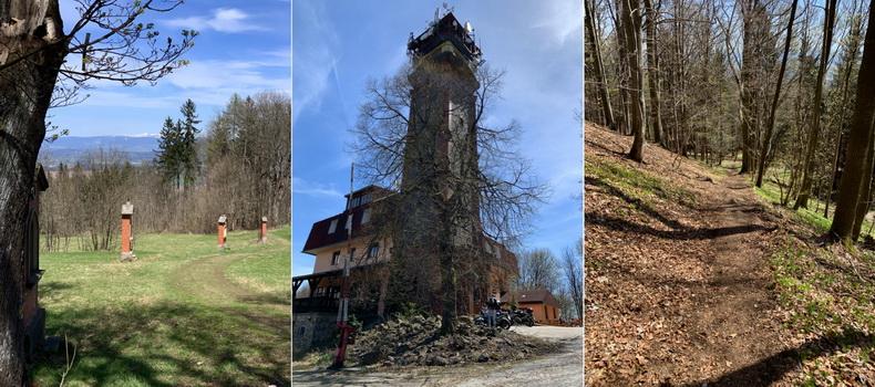 Tichánkova rozhledna na vrchu Tábor u Lomnice nad Popelkou. Vlevo křížová cesta, vpravo pak strmý sešup směr Kyje.