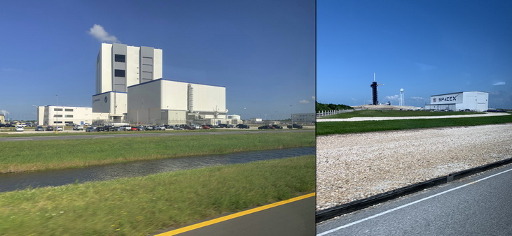 Montážní budova pro raketoplány a vpravo odpalovací rampa soukromé společnosti Space-X