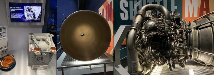 Vesmírný záchod společně s exponátem raketového motoru - podobné tvary, avšak podstatně jiné funkce