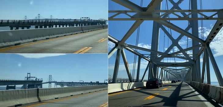Chesapeake Bay Bridge aneb výlet do vzduchoprázdna. Kdo se chvíli kochá, může si lehce zaplavat...