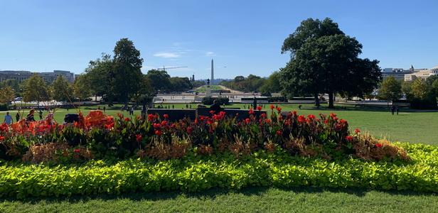 Krásný výhled od Kapitolu na monument prezidenta Washingtona včetně optického klamu nalétavajícího letadla