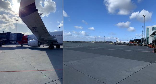 Boeing 737-800, který nás přepravil z Prahy do Kodaňe, odpočívá na dánském letišti