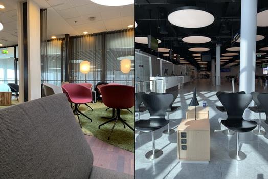Vlevo pohled ze sedačky útulného letištního salónku, vpravo pak pohled na náš několik hodin prázdný gate