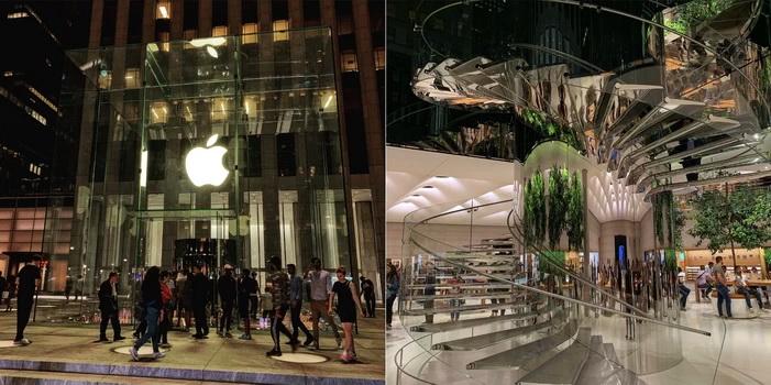 Apple Store na Páté Avenue. V roce 2019 byl po rozsáhlé rekonstrukci opět otevřen.