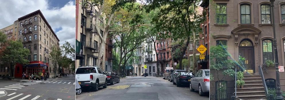 Vlevo ikonická stavba ze seriálu Přátelé, vpravo pak dům Carrie ze Sexu ve Městě. Uprostřed můžete vidět jednu z mnoha zelených uliček v Greenwich Village...