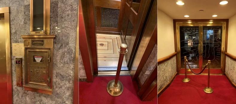 Náš tříhvězdičkový hotel Roger Smith zářil zlatou a červenou barvou, kam jste se jen podívali. Je to jeden z mála zachovaných starých hotelů. Výtahy, které byly často poruchové, jsou ještě původní od firmy Marcato Elevator, jež v NY dodává výtahy od roku 1903. Potrubní pošta už sice nefunguje, ale je to krásný vzpomínka na staré časy!
