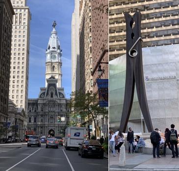 Náherná nová radnice, ze které na město kouká její zakladatel William Penn, pod radnicí se nachází nenápadný 14 metrový kolíček na prádlo