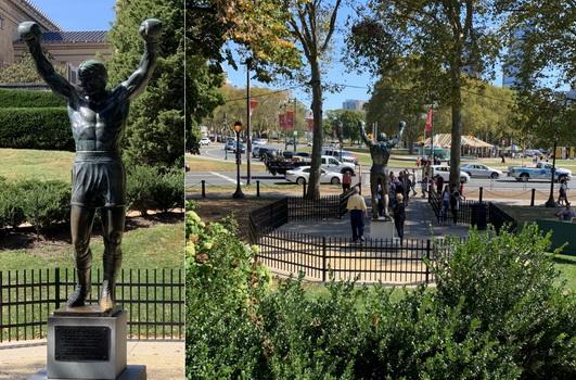 Socha Rockyho ve Fairmount parku pod muzeem umění