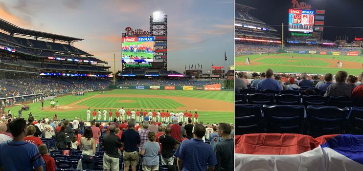 Před zápasem se jsme si ještě vyslechly americkou hymnu a pravo můžete vidět, jaký krásný výhled jsme měli