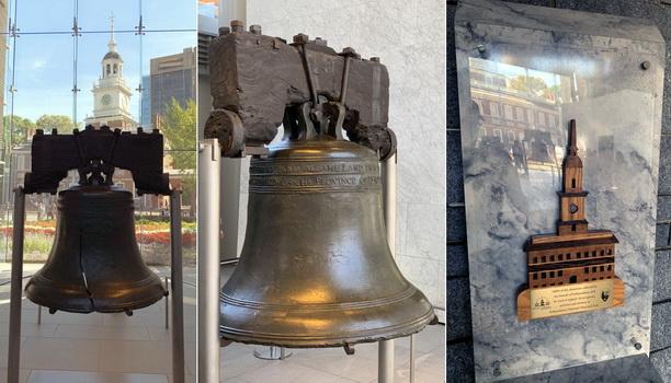 Ne příliš kvalitní, ale historicky významný Zvon Svobody, který svolával občany k prvnímu veřejnému čtení Deklarace nezávislosti a v pozadí budova, ve které byl léta umístěn - Independence Hall