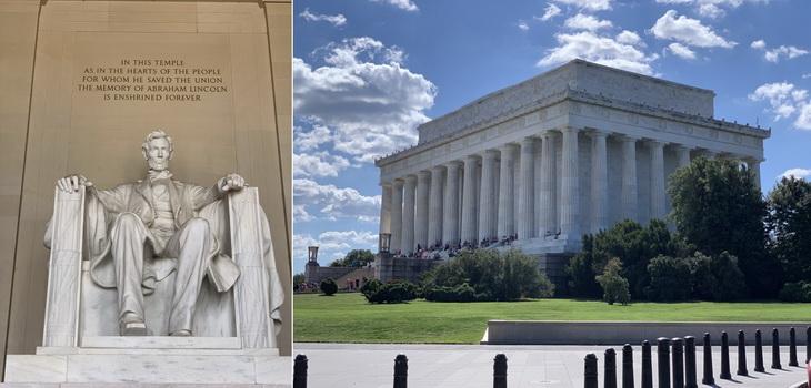 Sám velký mramorový Lincoln v nadživotní velikosti hledící ze svévho antického příbytku